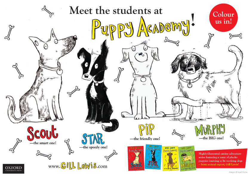 puppy academy colouring in sheet